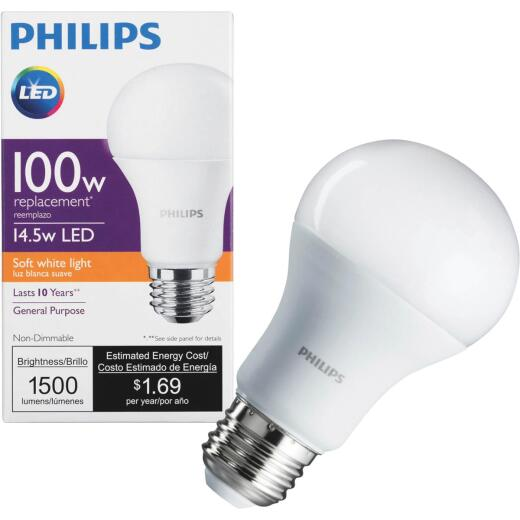 Philips 100W Equivalent Soft White A19 Medium LED Light Bulb