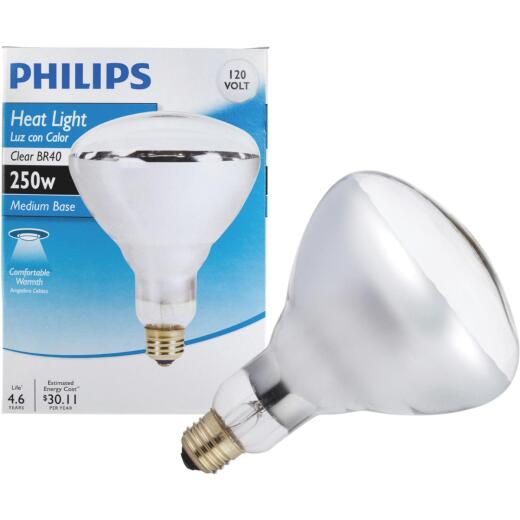 Philips 250W Clear Medium BR40 Incandescent Heat Light Bulb