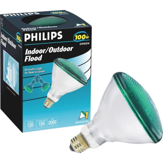 Philips 100W Green Medium BR38 Incandescent Floodlight Light Bulb